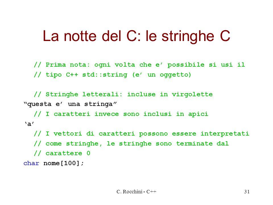 La notte del C: le stringhe C