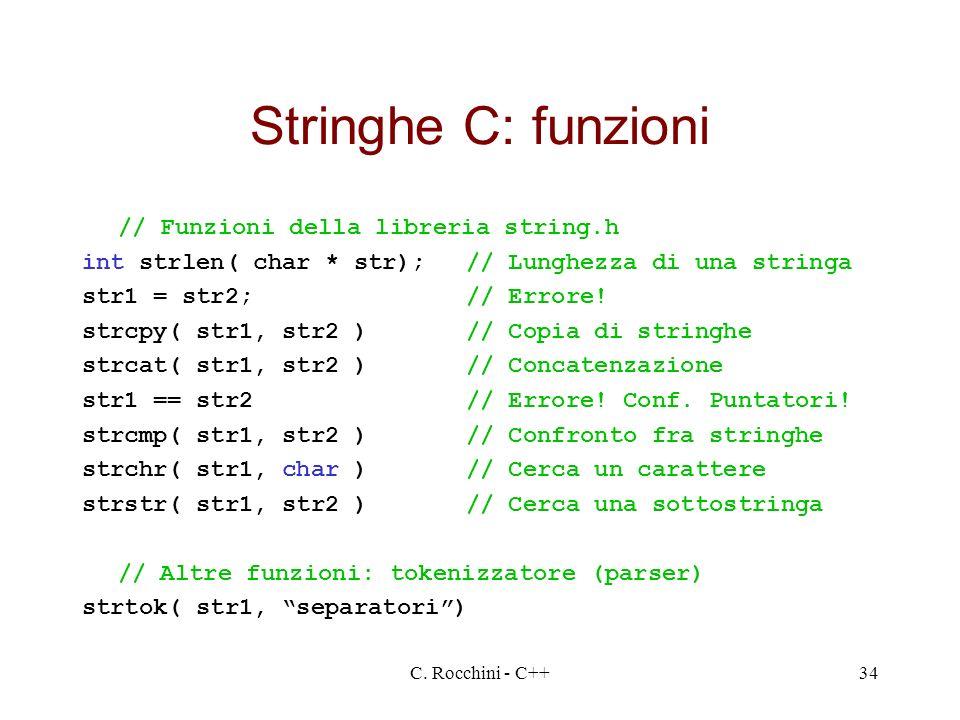 Stringhe C: funzioni // Funzioni della libreria string.h