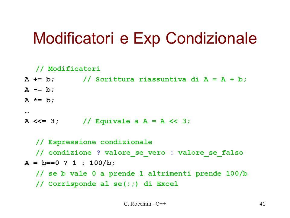 Modificatori e Exp Condizionale