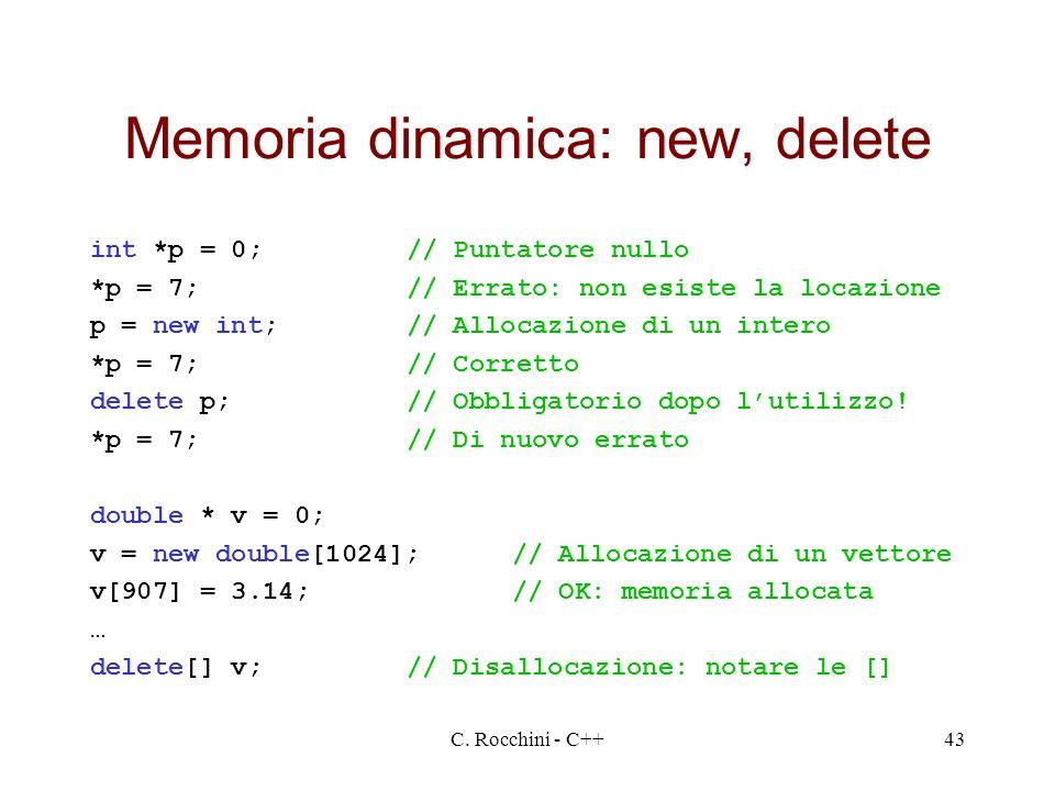 Memoria dinamica: new, delete