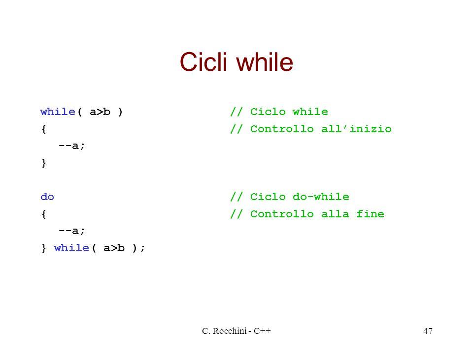 Cicli while while( a>b ) // Ciclo while { // Controllo all'inizio
