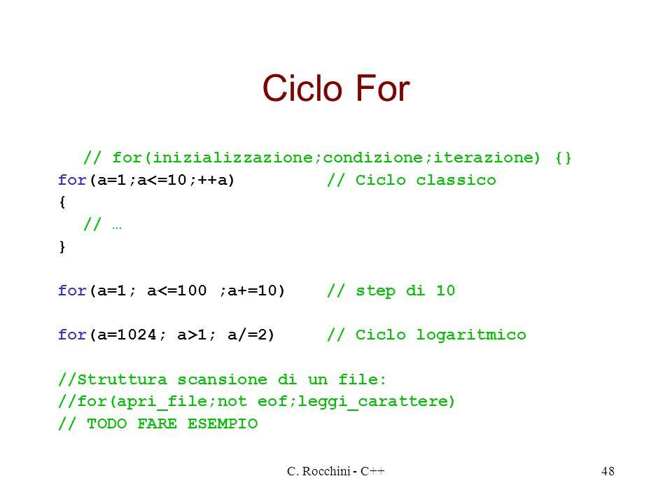 Ciclo For // for(inizializzazione;condizione;iterazione) {}