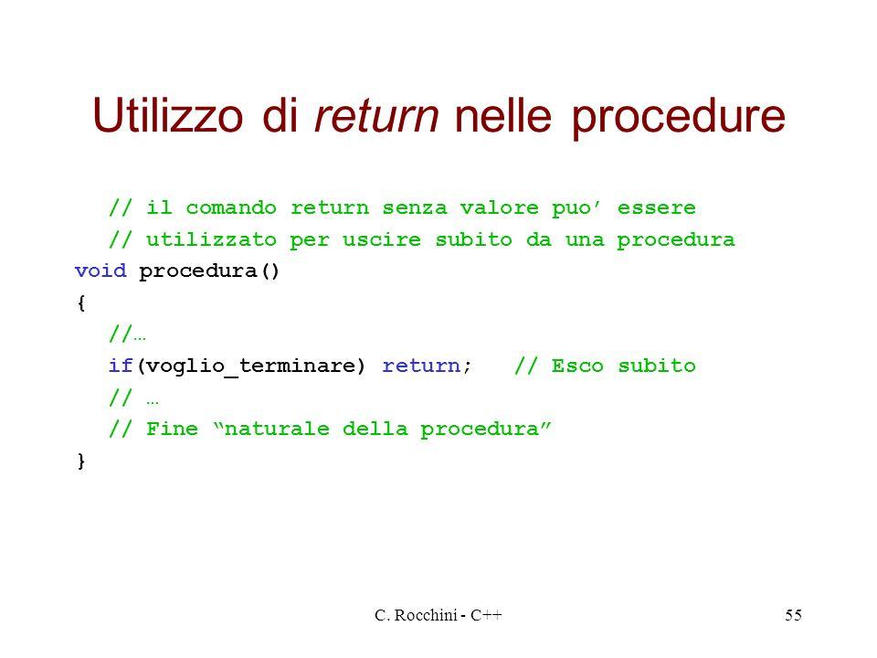 Utilizzo di return nelle procedure