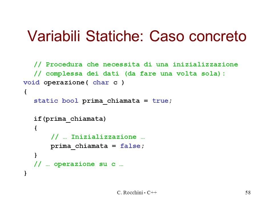 Variabili Statiche: Caso concreto