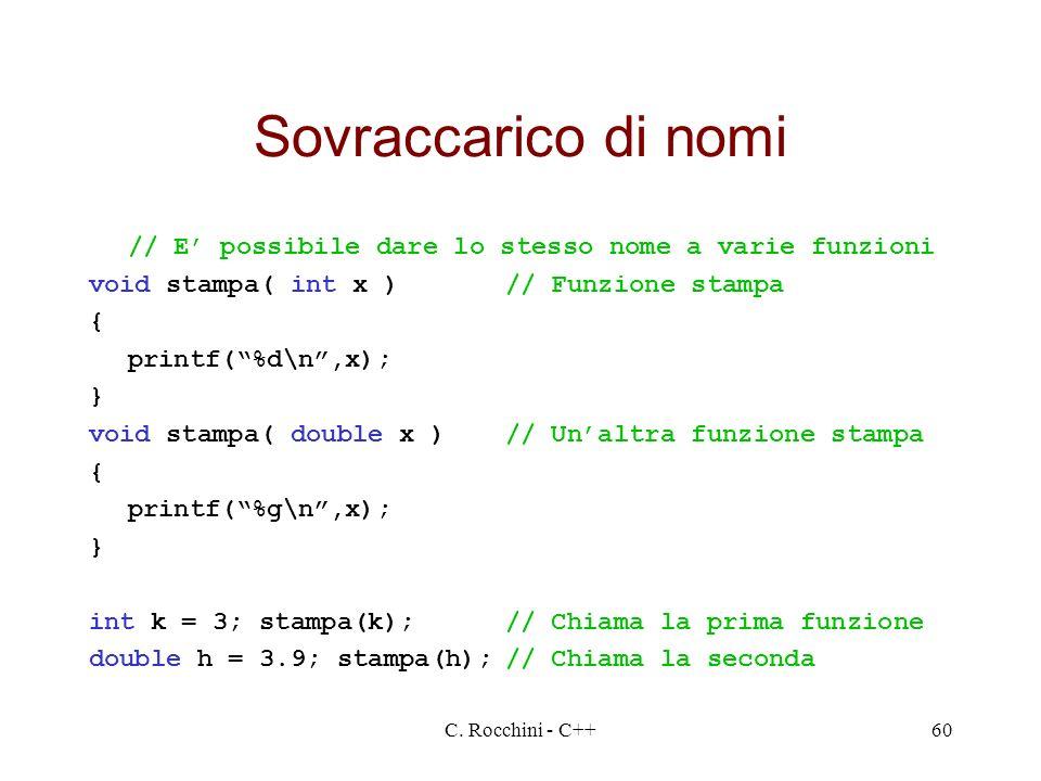 Sovraccarico di nomi // E' possibile dare lo stesso nome a varie funzioni. void stampa( int x ) // Funzione stampa.