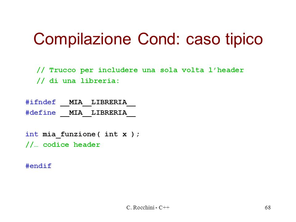 Compilazione Cond: caso tipico