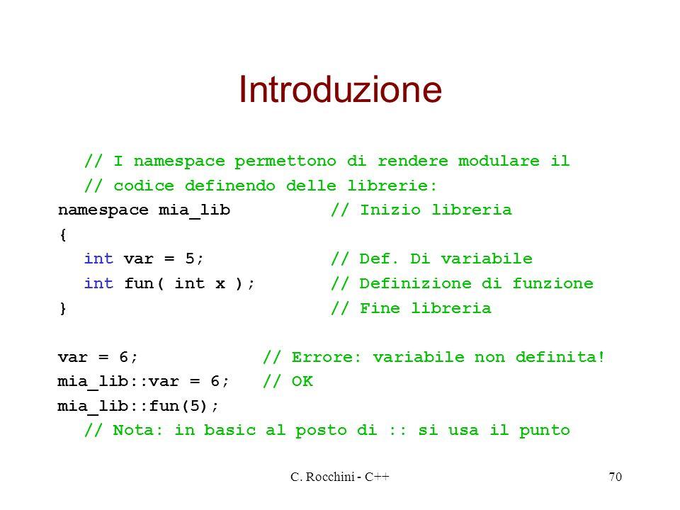 Introduzione // I namespace permettono di rendere modulare il