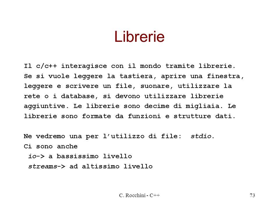 Librerie Il c/c++ interagisce con il mondo tramite librerie.