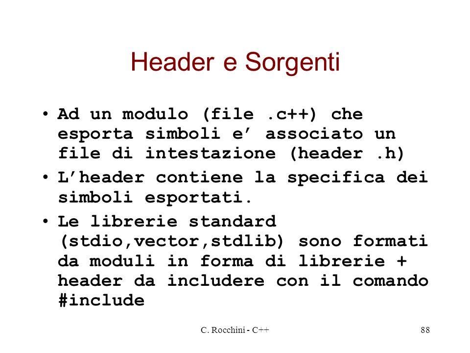 Header e Sorgenti Ad un modulo (file .c++) che esporta simboli e' associato un file di intestazione (header .h)