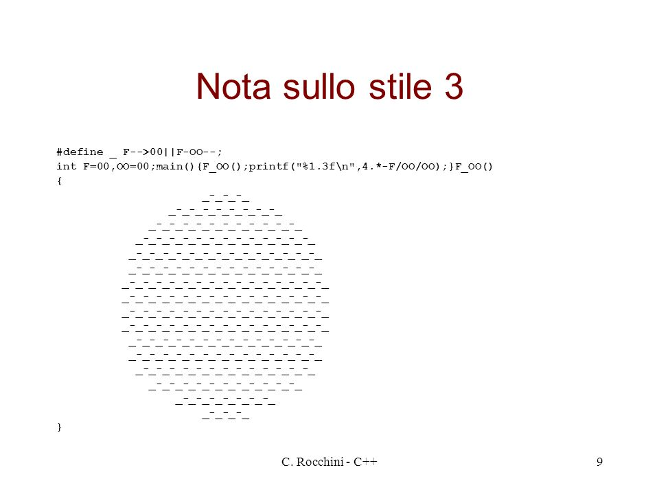 Nota sullo stile 3 C. Rocchini - C++ #define _ F-->00||F-OO--;