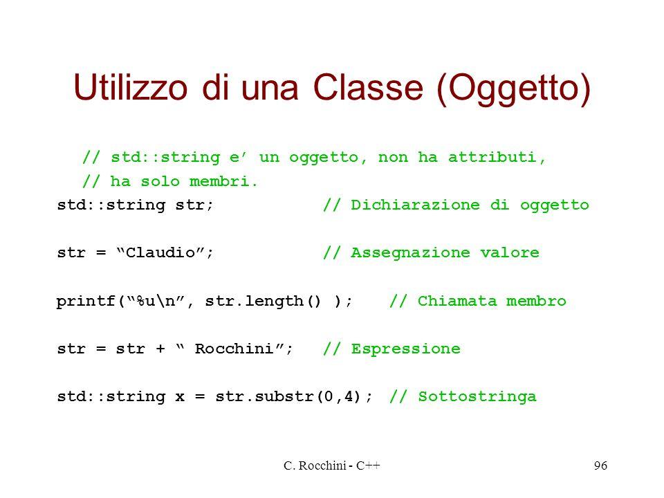 Utilizzo di una Classe (Oggetto)