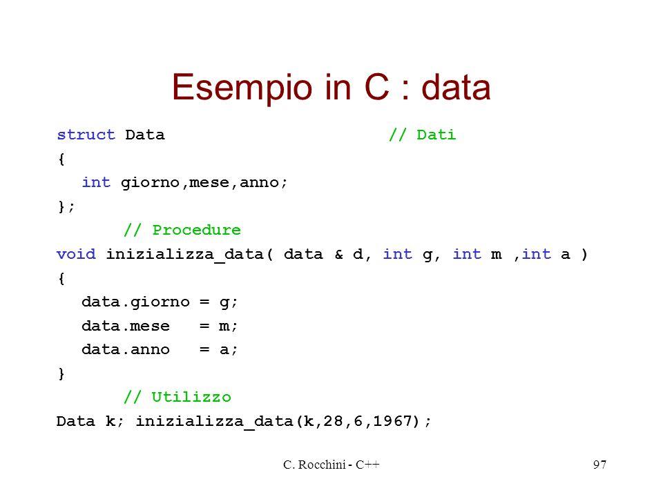 Esempio in C : data struct Data // Dati { int giorno,mese,anno; };