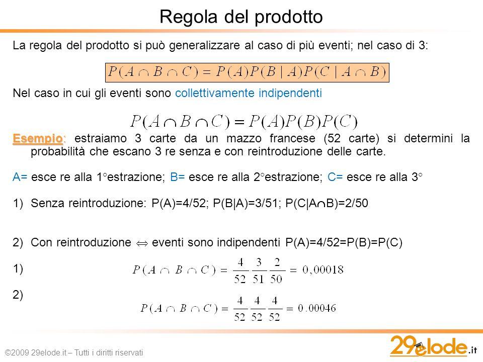 Regola del prodotto La regola del prodotto si può generalizzare al caso di più eventi; nel caso di 3: