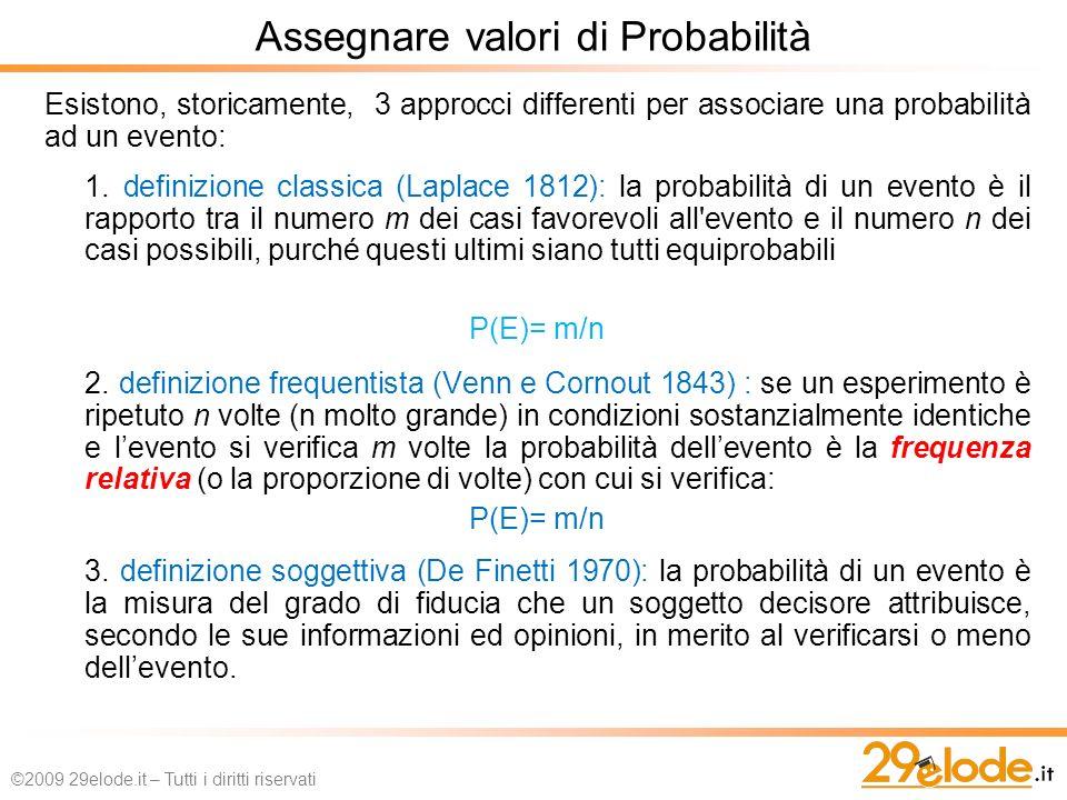 Assegnare valori di Probabilità