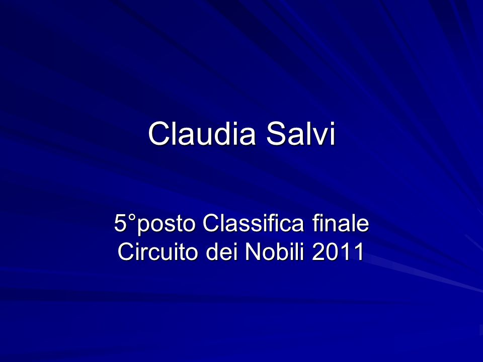 5°posto Classifica finale Circuito dei Nobili 2011