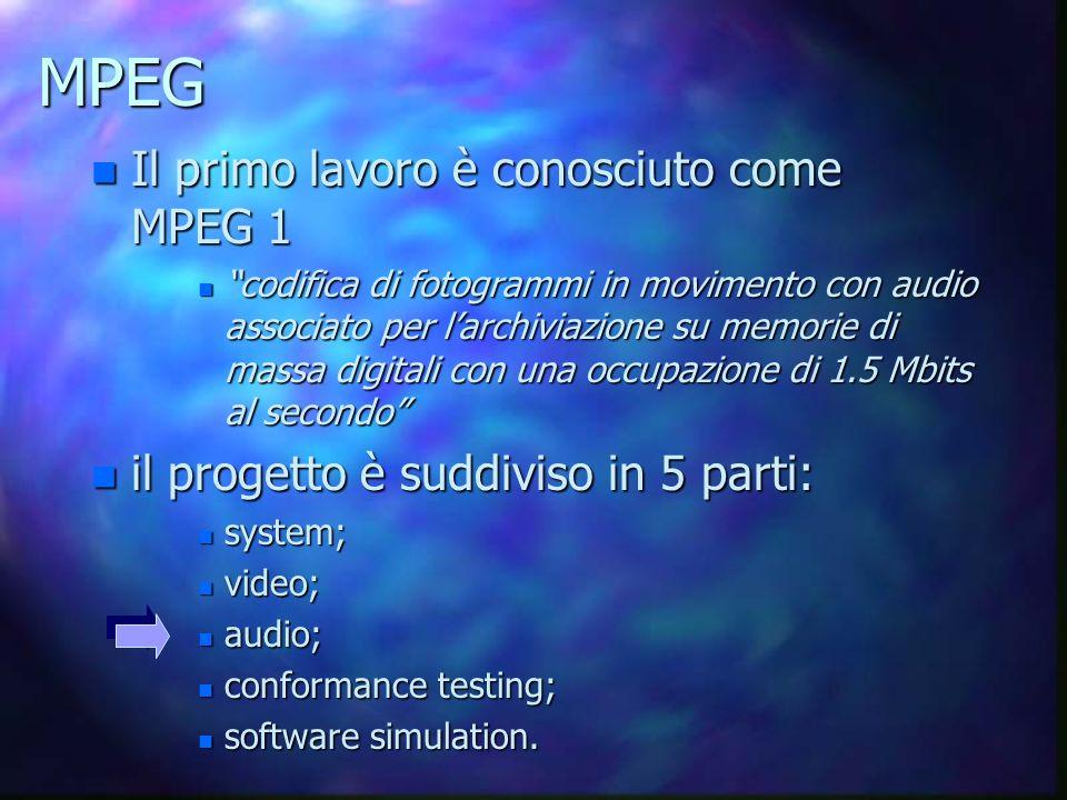 MPEG Il primo lavoro è conosciuto come MPEG 1
