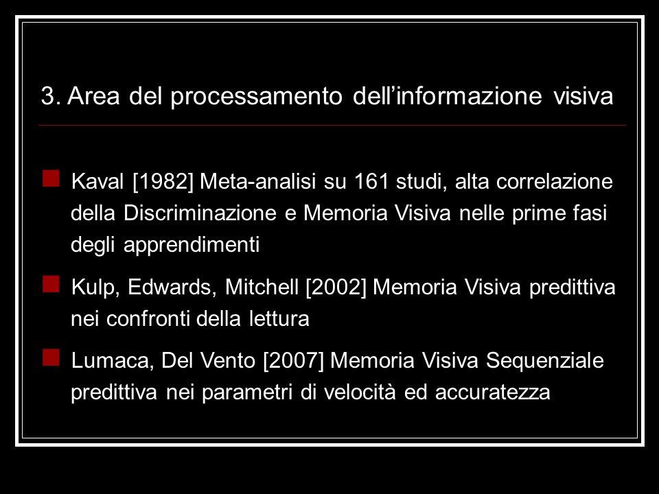 3. Area del processamento dell'informazione visiva