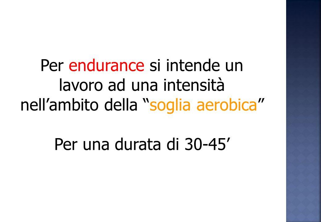 Per endurance si intende un lavoro ad una intensità nell'ambito della soglia aerobica