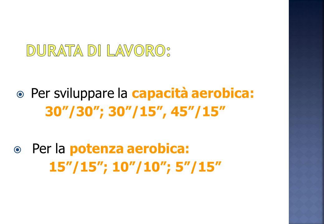 Per sviluppare la capacità aerobica: