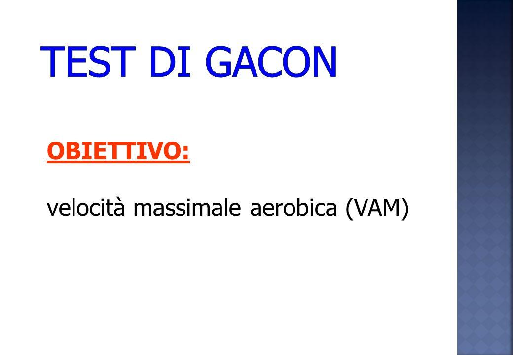 TEST DI GACON OBIETTIVO: velocità massimale aerobica (VAM)