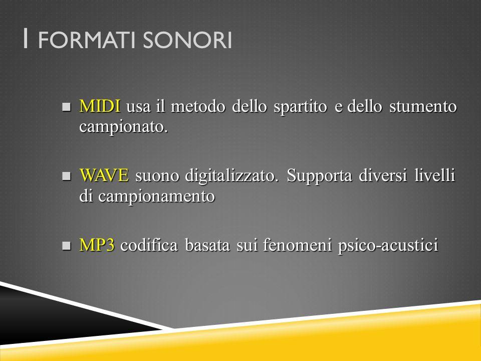 I FORMATI SONORI MIDI usa il metodo dello spartito e dello stumento campionato. WAVE suono digitalizzato. Supporta diversi livelli di campionamento.