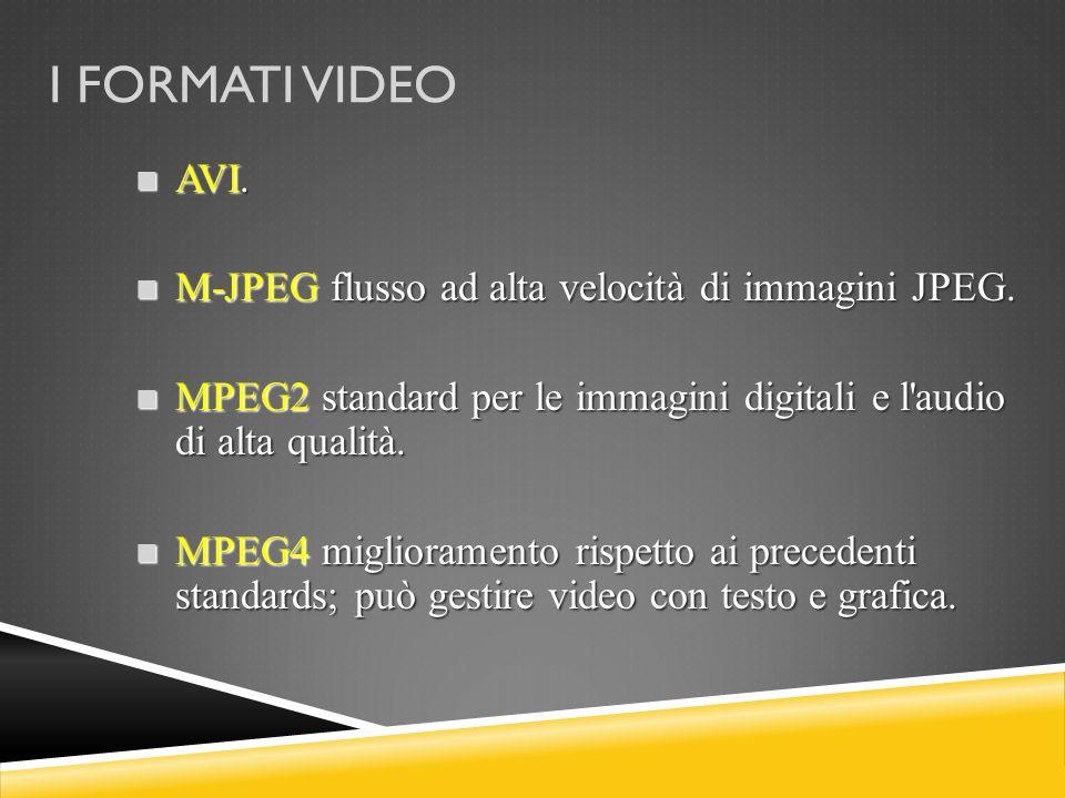 I FORMATI VIDEO AVI. M-JPEG flusso ad alta velocità di immagini JPEG.