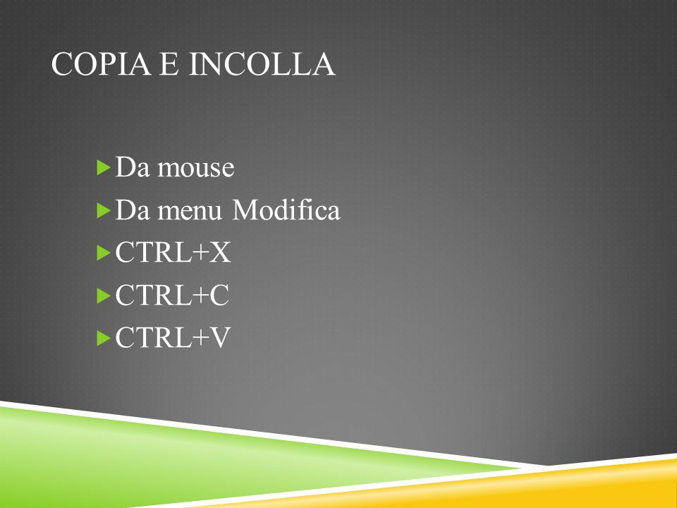 Copia e incolla Da mouse Da menu Modifica CTRL+X CTRL+C CTRL+V