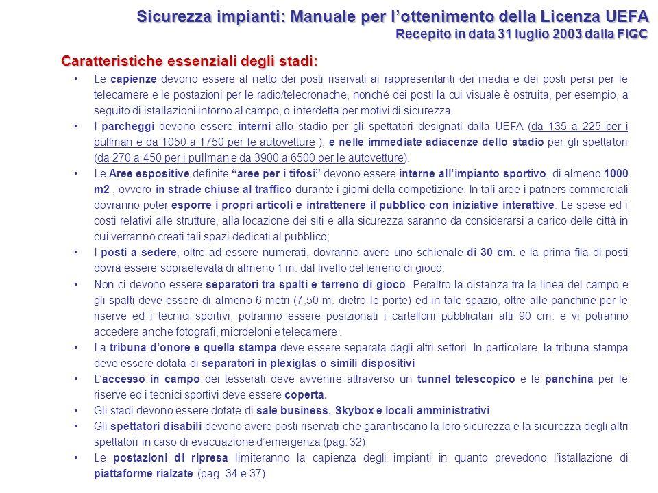 Sicurezza impianti: Manuale per l'ottenimento della Licenza UEFA