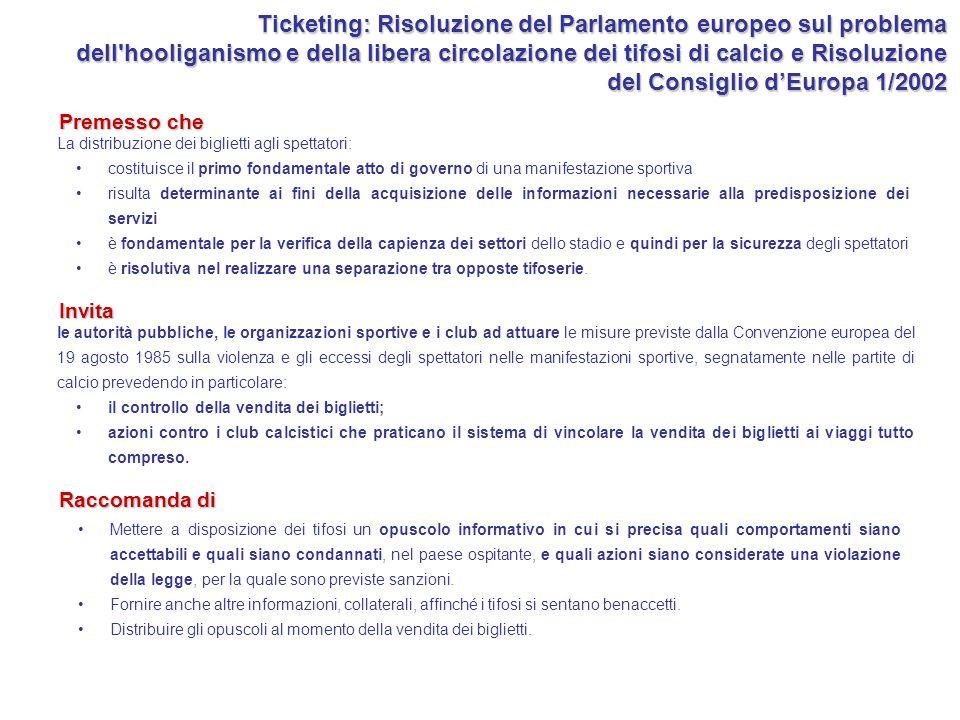 Ticketing: Risoluzione del Parlamento europeo sul problema dell hooliganismo e della libera circolazione dei tifosi di calcio e Risoluzione del Consiglio d'Europa 1/2002