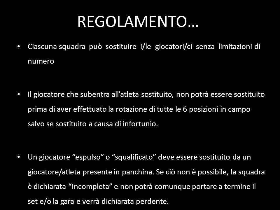 REGOLAMENTO… Ciascuna squadra può sostituire i/le giocatori/ci senza limitazioni di numero.