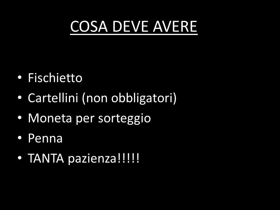 COSA DEVE AVERE Fischietto Cartellini (non obbligatori)