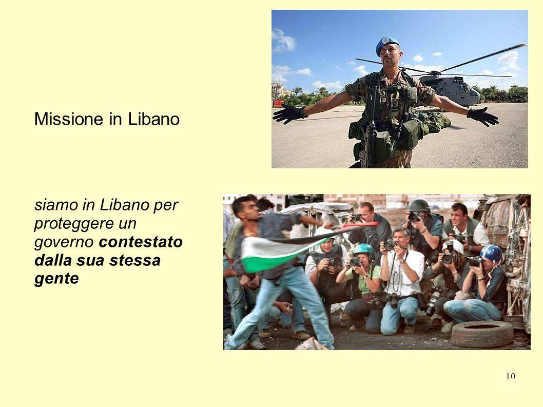 Missione in Libano siamo in Libano per proteggere un governo contestato dalla sua stessa gente