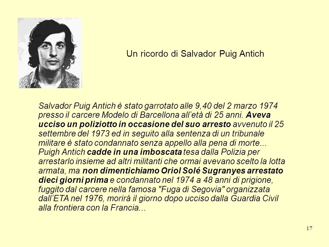 Un ricordo di Salvador Puig Antich