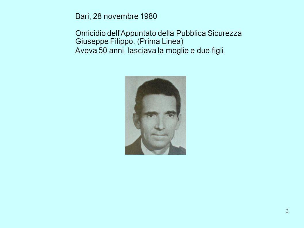 Bari, 28 novembre 1980 Omicidio dell Appuntato della Pubblica Sicurezza. Giuseppe Filippo. (Prima Linea)