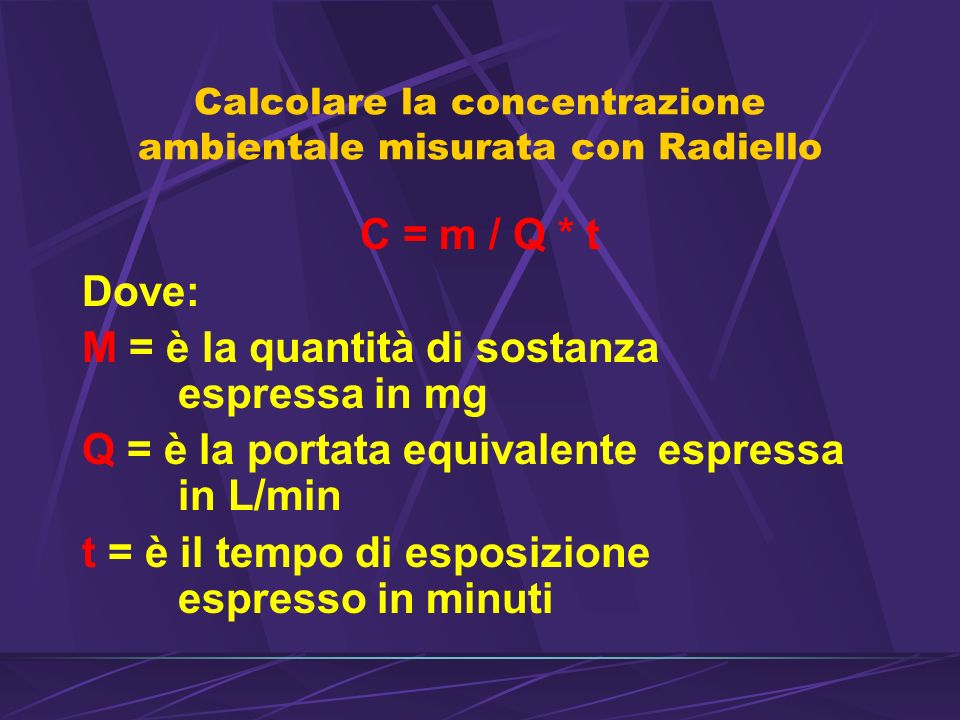 Calcolare la concentrazione ambientale misurata con Radiello