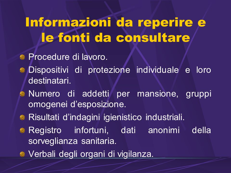 Informazioni da reperire e le fonti da consultare
