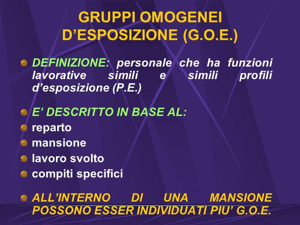 GRUPPI OMOGENEI D'ESPOSIZIONE (G.O.E.)