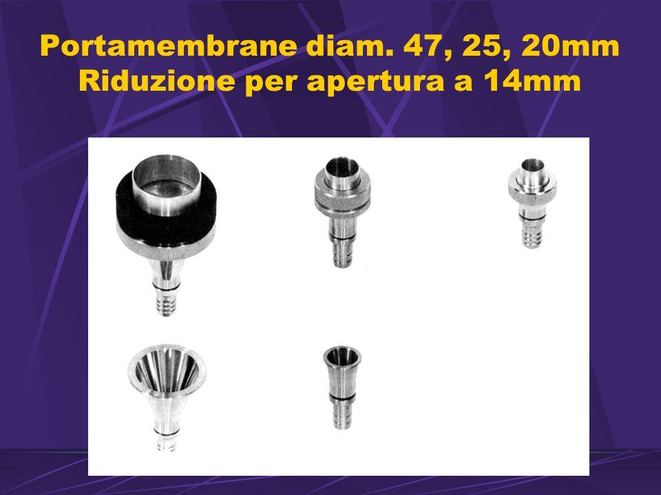 Portamembrane diam. 47, 25, 20mm Riduzione per apertura a 14mm