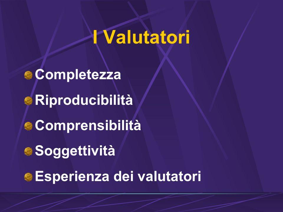 I Valutatori Completezza Riproducibilità Comprensibilità Soggettività