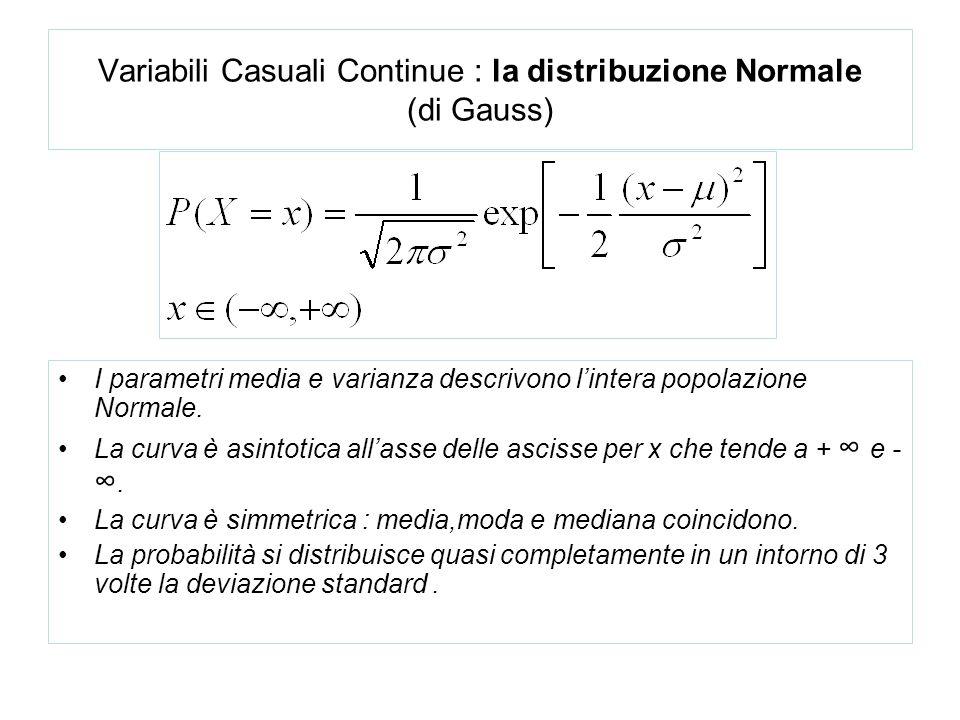Variabili Casuali Continue : la distribuzione Normale (di Gauss)