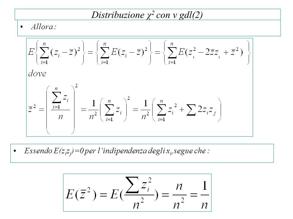 Distribuzione χ2 con v gdl(2)