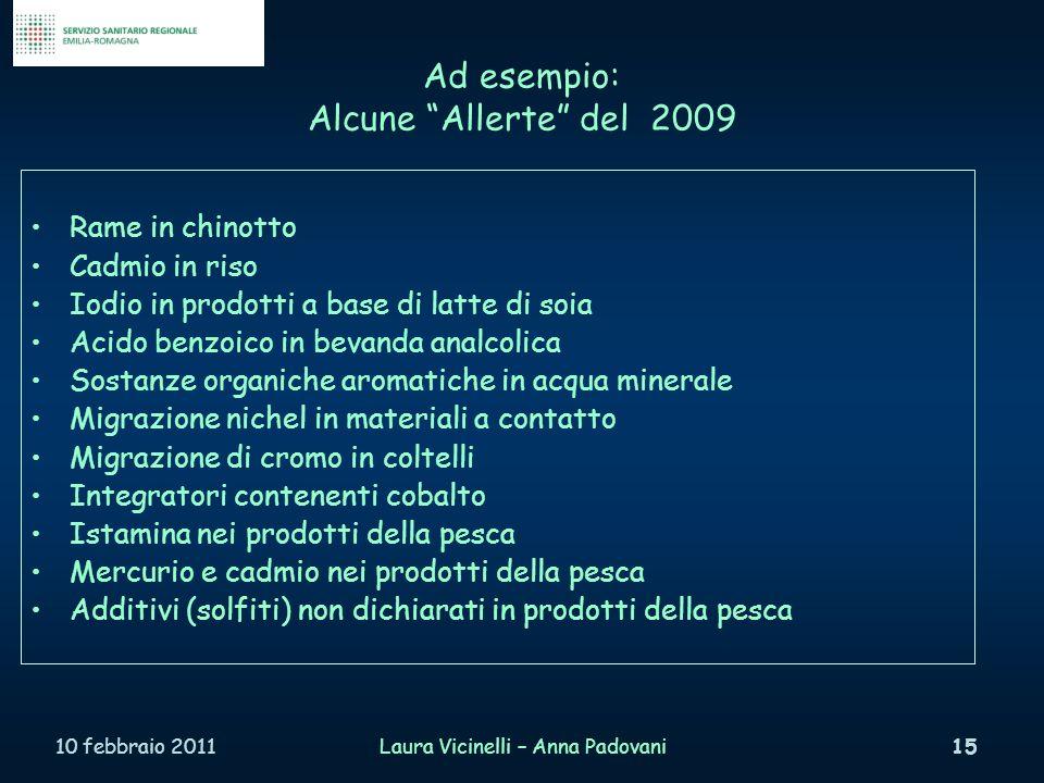 Ad esempio: Alcune Allerte del 2009