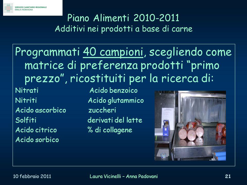 Piano Alimenti 2010-2011 Additivi nei prodotti a base di carne