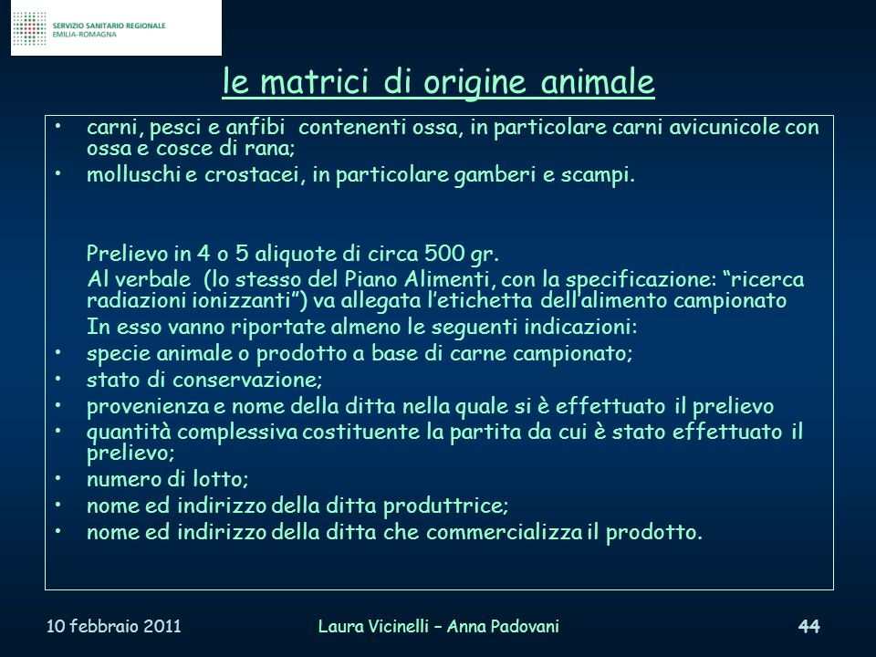le matrici di origine animale