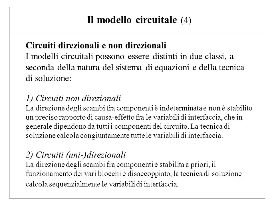 Il modello circuitale (4)
