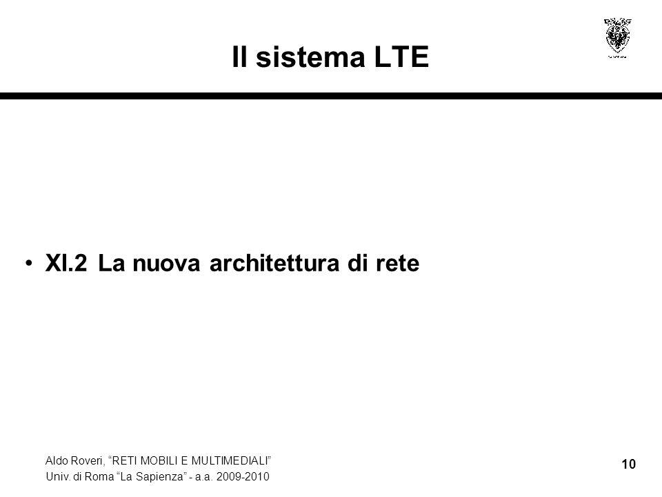 Il sistema LTE XI.2 La nuova architettura di rete