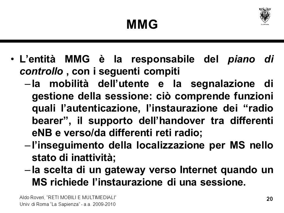 MMG L'entità MMG è la responsabile del piano di controllo , con i seguenti compiti.