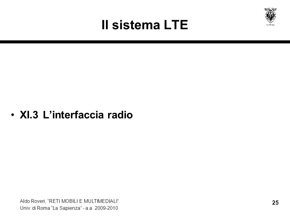 Il sistema LTE XI.3 L'interfaccia radio