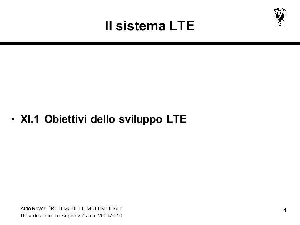 Il sistema LTE XI.1 Obiettivi dello sviluppo LTE