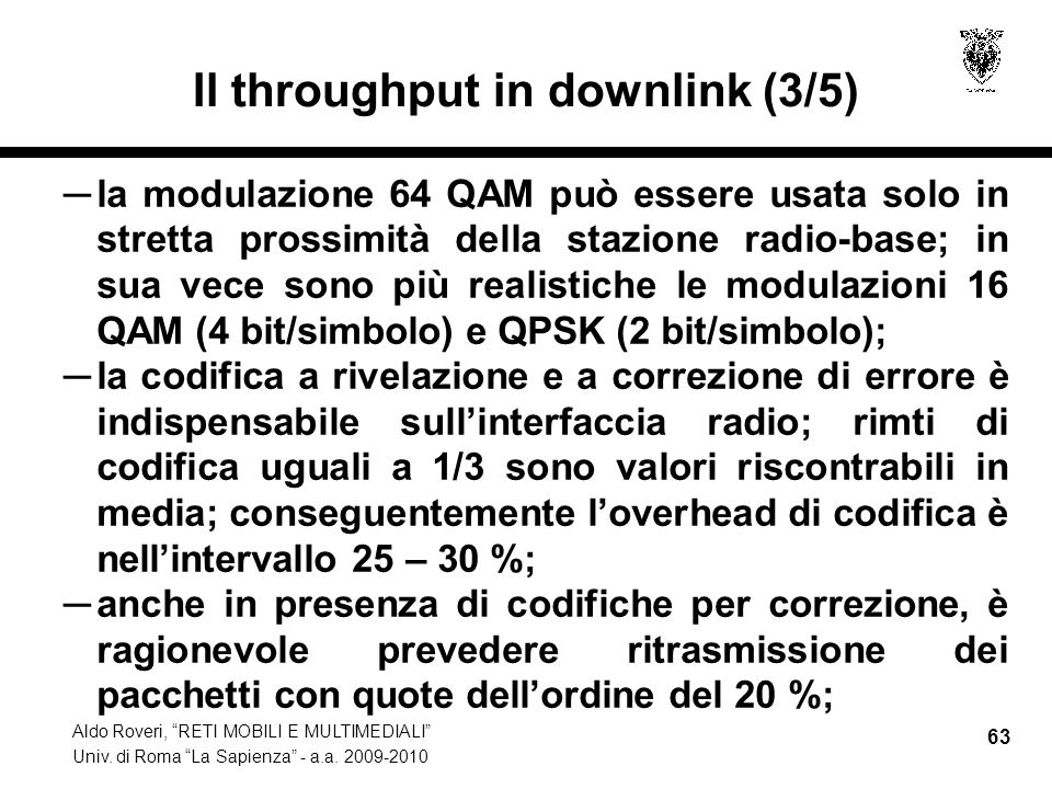 Il throughput in downlink (3/5)